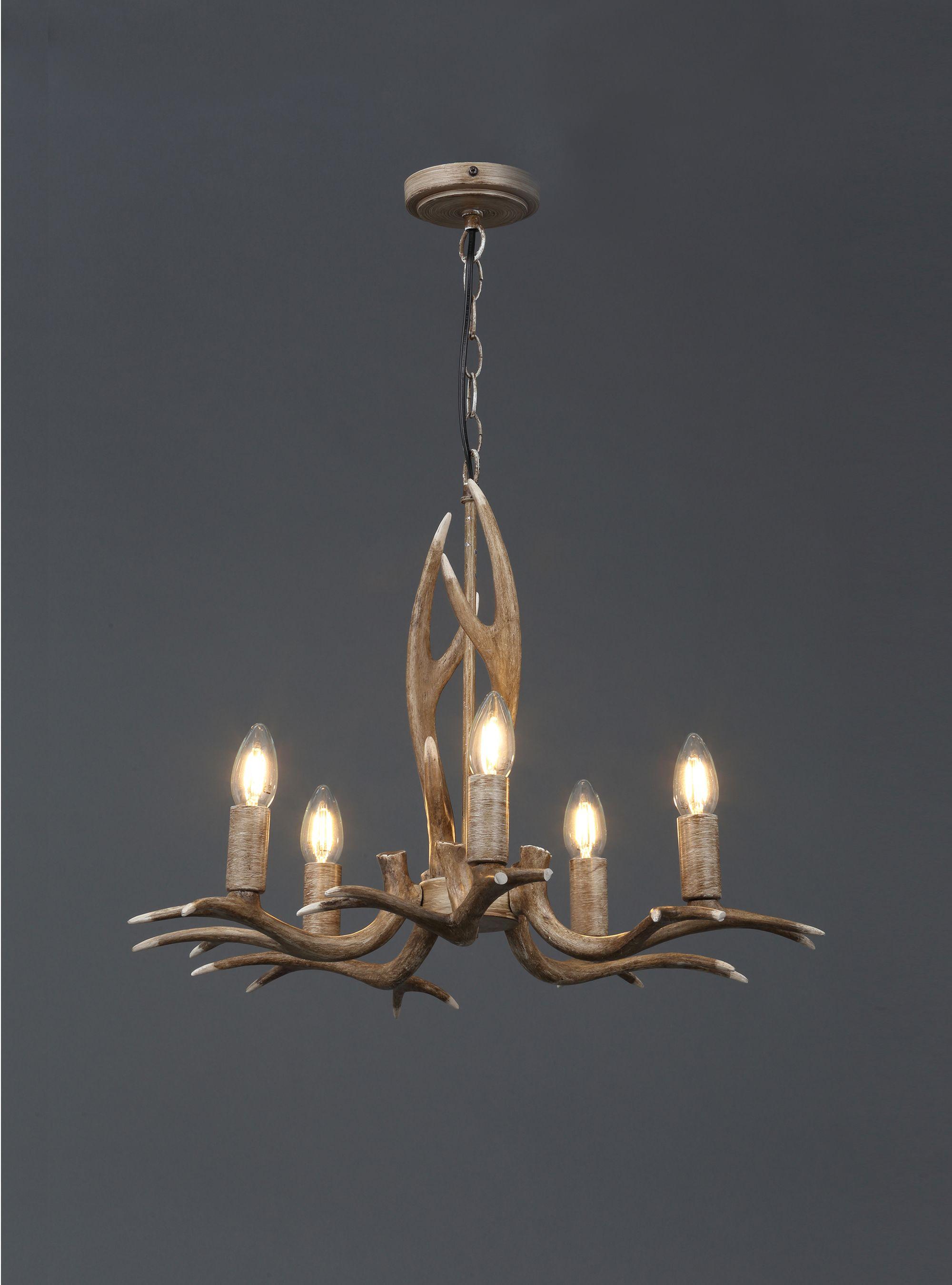 Hela Wood Effect 5 Lamp Pendant Ceiling
