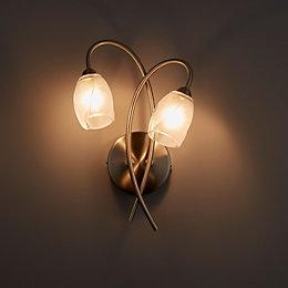 Forbes Satin Chrome 2 Lamp Wall Light