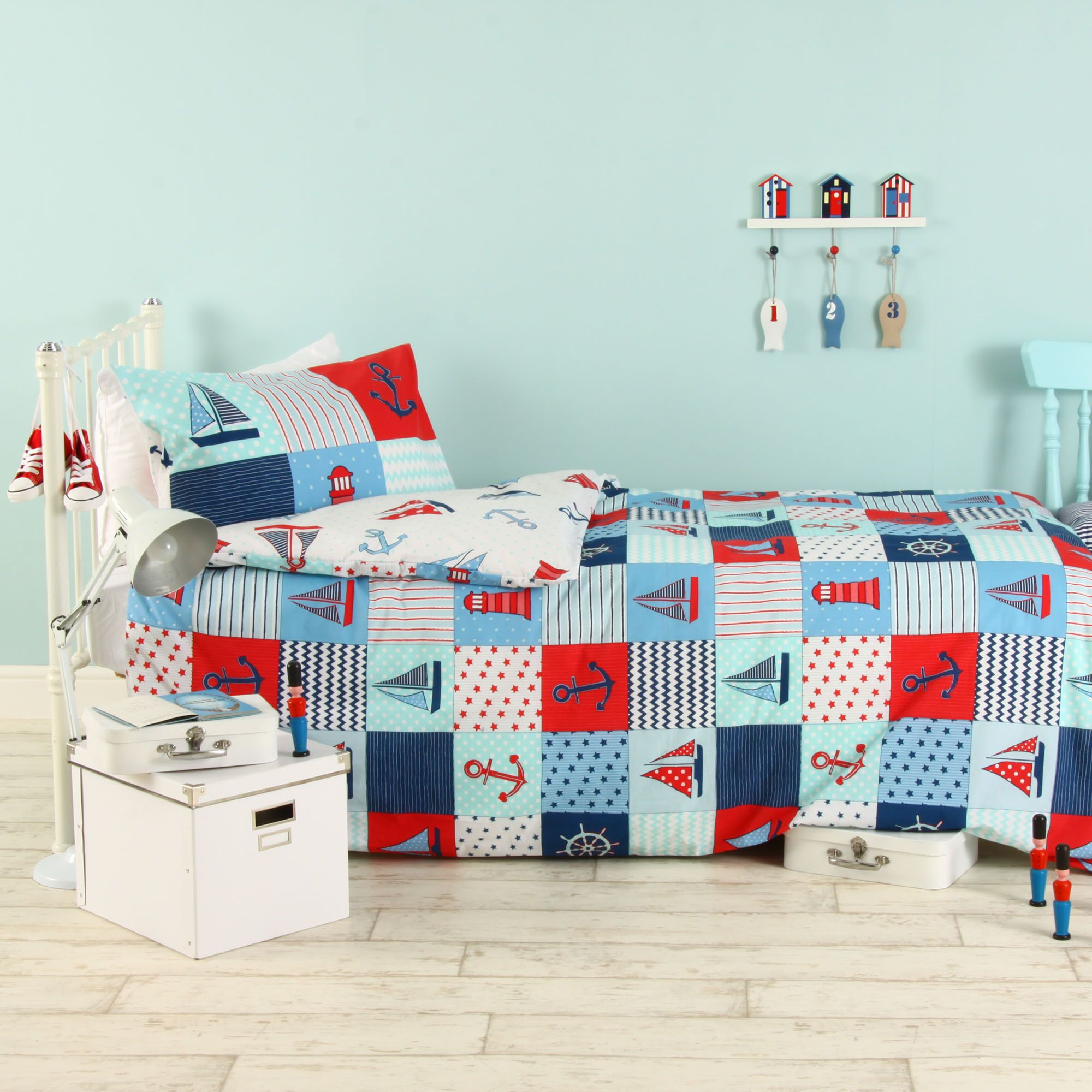 Caravan Boys Nautical patchwork Multicolour Single Duvet Set