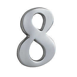 Chrome Effect Metal 60mm House Number 8