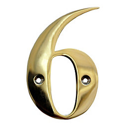 Brass 102mm House Number 6