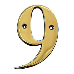 Brass 102mm House Number 9