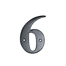 Black Aluminium 100mm House Number 6