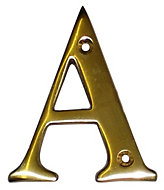 Brass 100mm House Letter A
