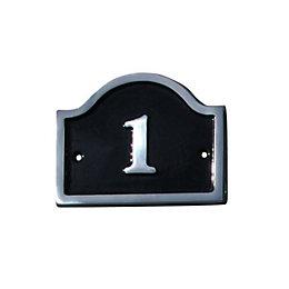 Black Aluminium House Plate Number 1