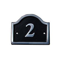 Black Aluminium 120mm House Plate Number 2