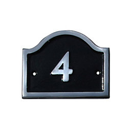 Black Aluminium House Plate Number 4