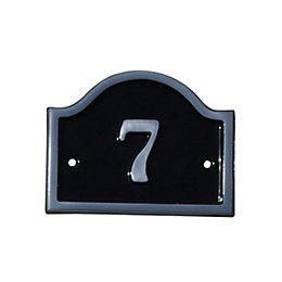 Black Aluminium House Plate Number 7
