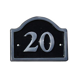 Black Aluminium House Plate Number 20