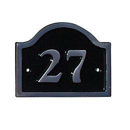 Black Aluminium House Plate Number 27