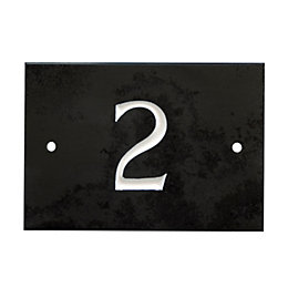 Black Slate Rectangle House Plate Number 2