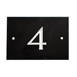 Black Slate Rectangle House Plate Number 4