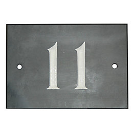 Black Slate Rectangle House Plate Number 11