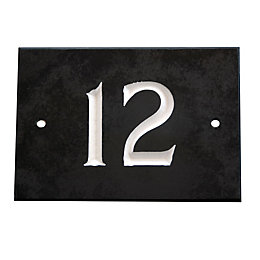 Black Slate Rectangle House Plate Number 12