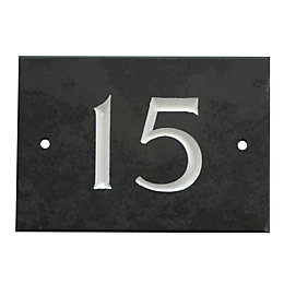 Black Slate Rectangle House Plate Number 15