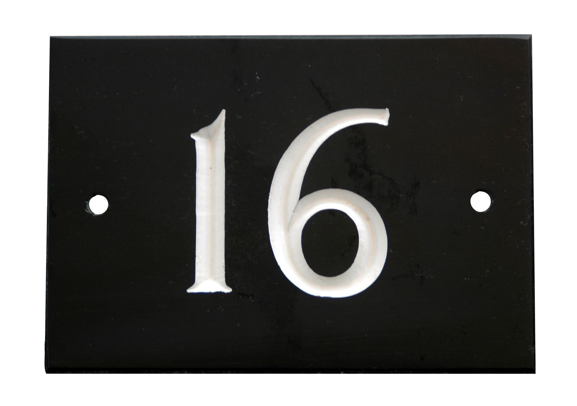 Black slate rectangle house plate number 16 departments for Number 16 house