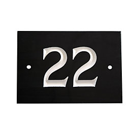 Black Slate Rectangle House Plate Number 22