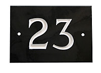 Black & white Slate Rectangle 102mm House plate number 23