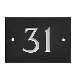 Black Slate Rectangle House Plate Number 31