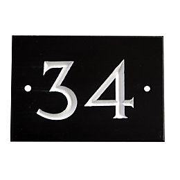 Black Slate Rectangle House Plate Number 34