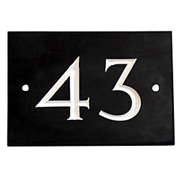 Black Slate Rectangle House Plate Number 43