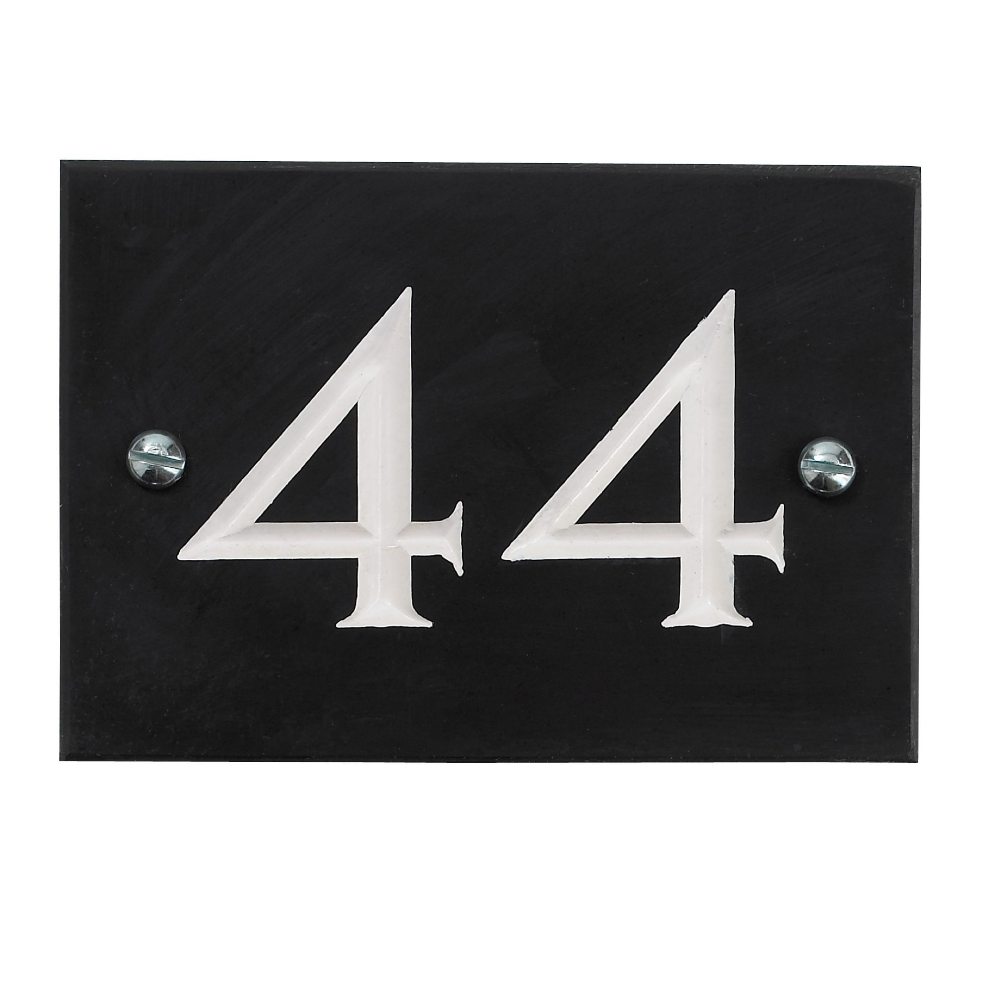Black Slate Rectangle House Plate Number 44 Departments