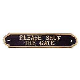 Brass Please Shut The Gate Sign (H)50mm (W)240mm