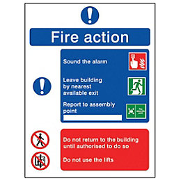 PVC Self Adhesive Fire Action Sign (H)200mm (W)150mm