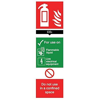 Carbon dioxide extinguisher PVC label