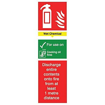 Wet chemical fire extinguisher PVC label
