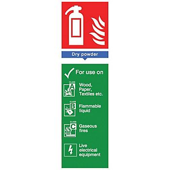 Powder extinguisher PVC label