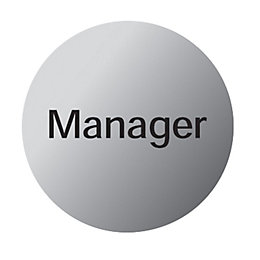 Stainless Steel Self Adhesive Manager Sign (Dia)115mm