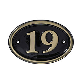 Black Brass House Plate Number 19