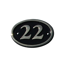 Black Brass 120mm House plate number 22
