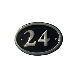 Black Brass House Plate Number 24