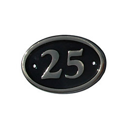 Black Brass House Plate Number 25