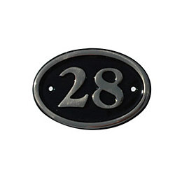 Black Brass House Plate Number 28