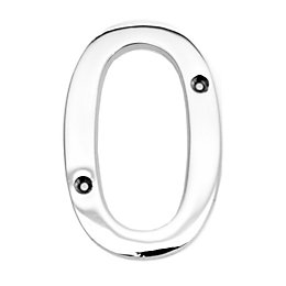 Chrome-Plated Zinc Contemporary 100mm House Number 0