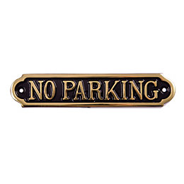 Brass No Parking Sign (H)50mm (W)240mm