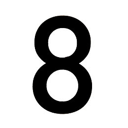 Black PVC 150mm House Number 8