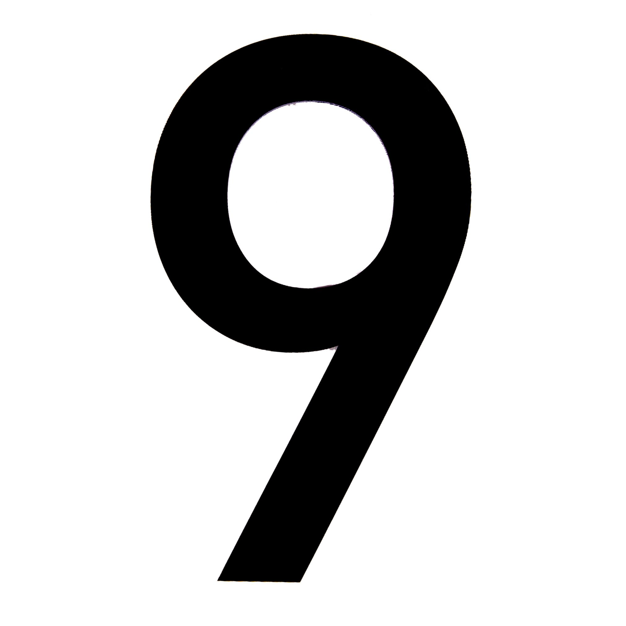 black pvc 150mm house number 9