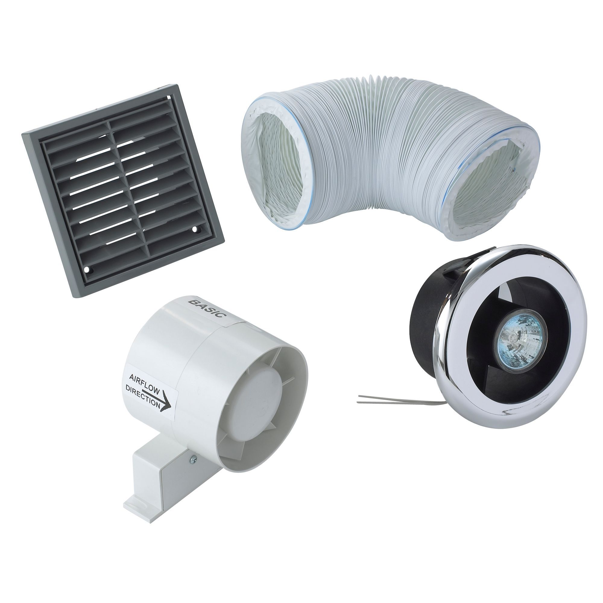 Manrose vdisl100s shower light bathroom extractor fan kit - Bathroom ceiling extractor fan with light ...