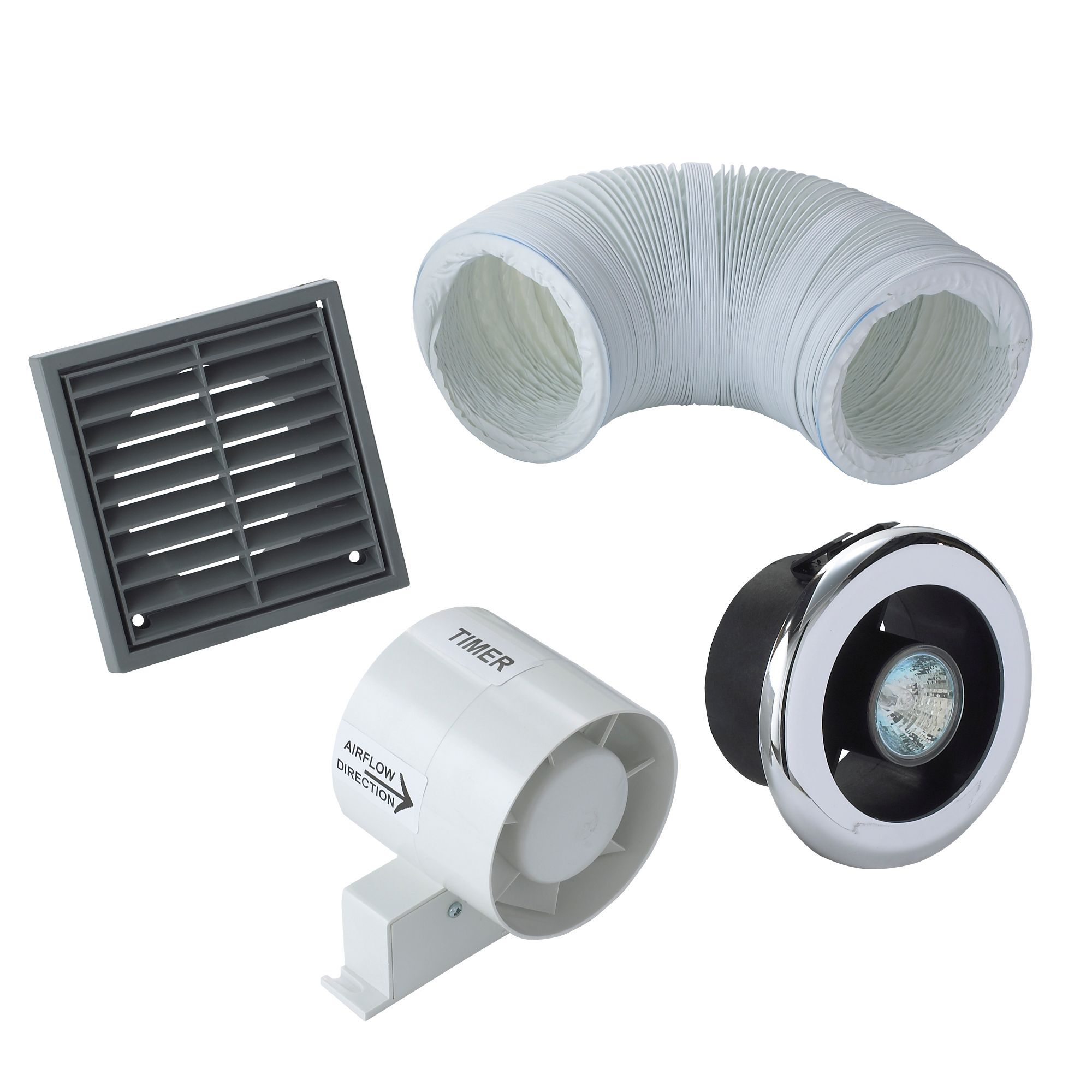 Manrose vdisl100t shower light bathroom extractor fan kit - Bathroom ceiling extractor fan with light ...