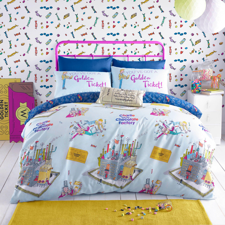 Roald Dahl Willy Wonka Multicolour Single Bed set