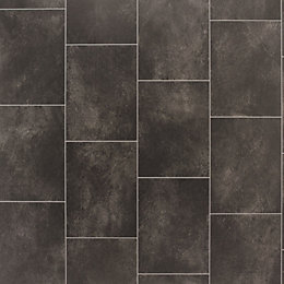 Black Slate Tile Effect Vinyl Flooring 4 m²