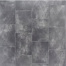Grey Slate Tile Effect Vinyl Flooring 4 m²