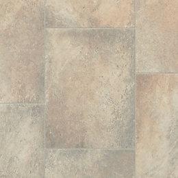 Beige Stone Tile Effect Vinyl Flooring 4 m²