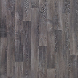 Dark grey Oak effect Vinyl flooring 4 m²