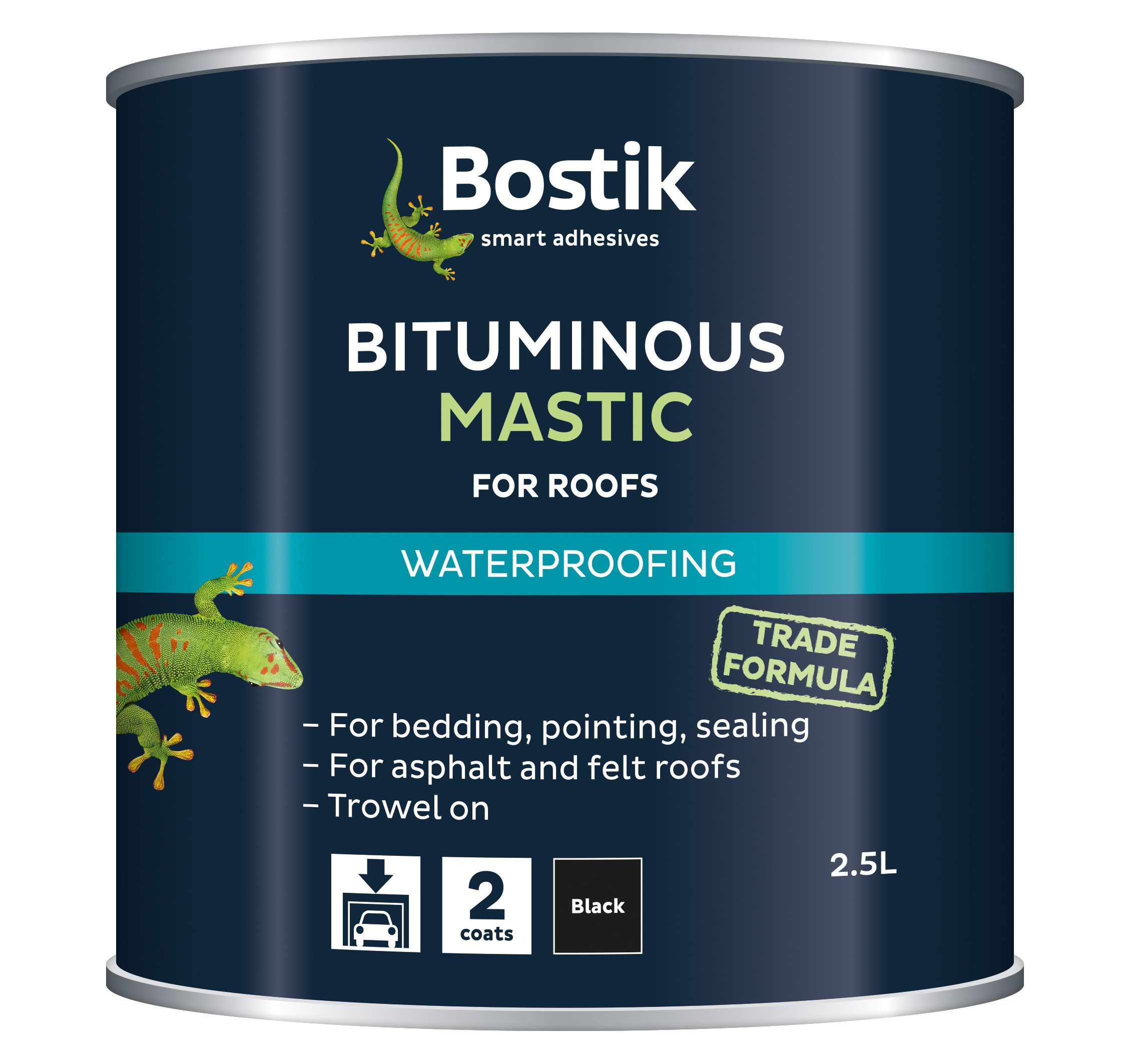 Bostik Black Waterproofing Bituminous Mastic 2 5l