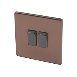 Varilight 10A 2-Way Double Brushed Bronze Light Switch